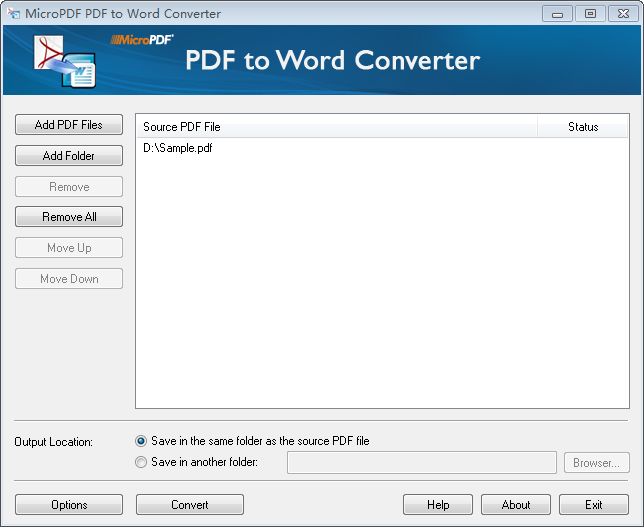 MicroPDF PDF to Word Converter